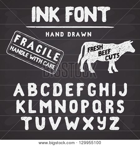 Hand Made Ink stamp font. Handwritten alphabet. Vintage retro textured hand drawn typeface with grunge effect good for custom logo or emblrm. Vector illustration. on chalkboard background.