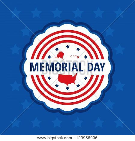 Memorial day color badge in wavy circle over blue background stars. Flat Memorial day congratulation vector illustration. Memorial day banner with USA flag, stars and map elements.