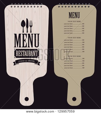 menu for the restaurant in the form of wooden cutting board