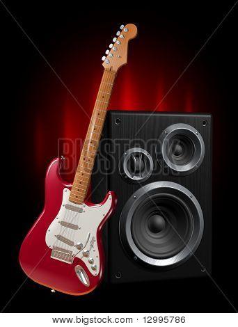 Guitar and speaker