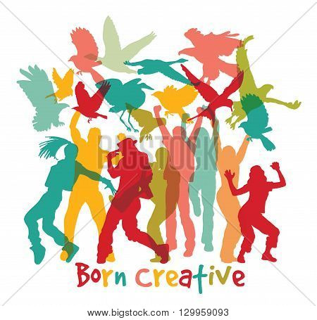 Creative people and sign isolate white. Color vector illustration. EPS8