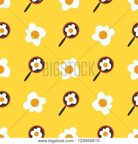 Seamless pattern with fried eggs on a yellow background.