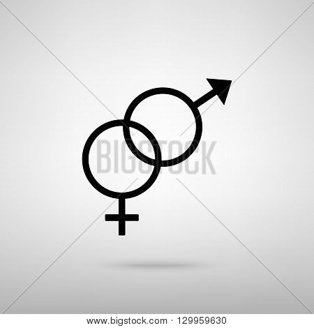 Sex symbol sign. Black with shadow on gray.