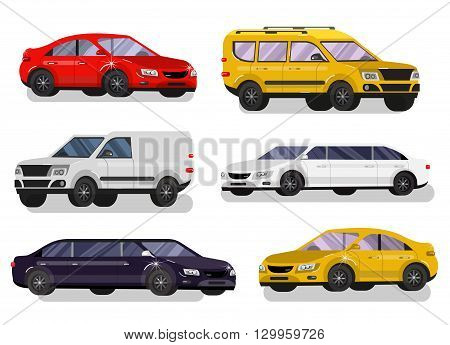 Stylish flat Car. Transport car Symbols collection, limousine black and white, family car, sedan car and truck. Vector car