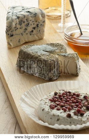 Traditional French cheese tray with a variety of cheese