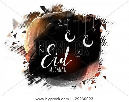 Creative abstract design decorated greeting card with hanging crescent moons and stars for Islamic Famous Festival, Eid Mubarak celebration.