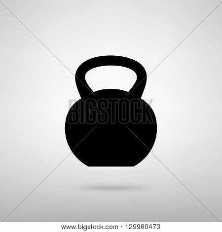Fitness Dumbbell sign. Black with shadow on gray.