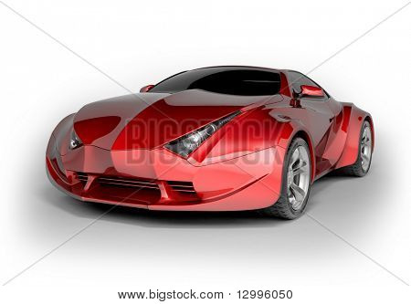 Red sport car isolated on white background. My own car design. Not associated with any brand. High quality 3d render.