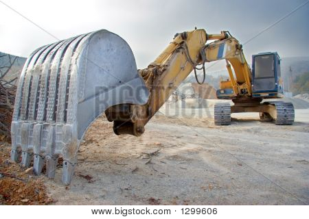 Big Bulldozer At Construction Site