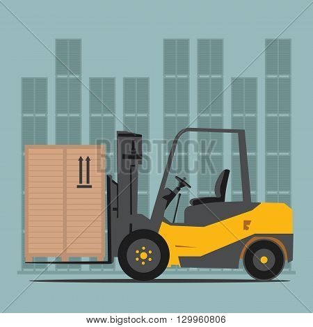 Forklift in Warehouse. Logistics and delivery. Vector illustration.