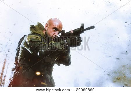Soldier Man Hold Machine Gun On A Light Background