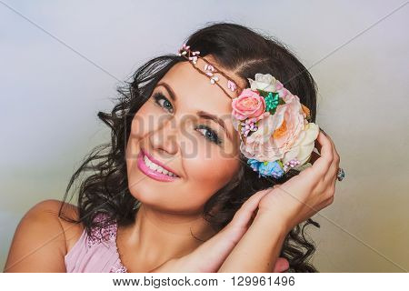Beautiful Brunnet Woman With Flower Wreath