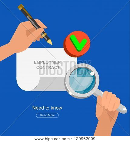 employment contract paper after agreement. Hiring process concept. Vector detailed, cool flat  illustration
