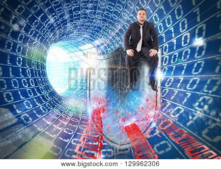 Tunnel with man sitting on a shield