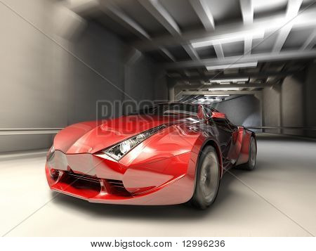 Car in tunnel. My own car design. Not associated with any brand.