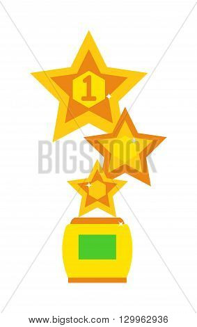 Award star design concept. Star award cup vector illustration and success competition victory star award cup. Star champion winner first award cup and golden ceremony star award cup.