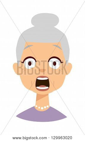 Old lady expresses shock surprise isolated on white character face avatar. Shocked granny vector and funny old woman shocked granny. Shocked granny elderly grandmother old person with open mouth.