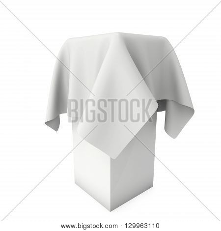 Presentation pedestal covered with a white cloth. Place for award or prize cover by cloth. 3d render isolated on white.