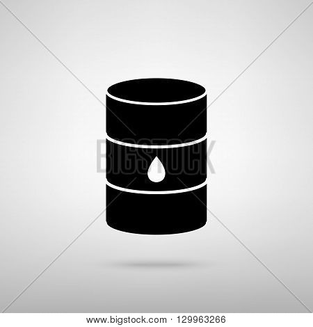 Oil barrel sign. Black with shadow on gray.