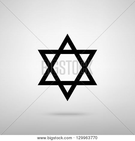 Star. Shield Magen David. Symbol of Israel. Black with shadow on gray.
