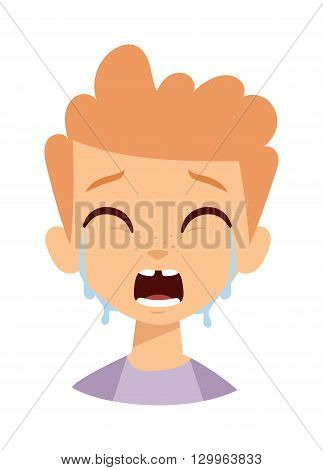Crying baby boy isolated on white. Crying boy vector and cute crying boy. Crying boy little expression cry portrait and crying boy emotion face. Portrait emotion baby boy face with tears.
