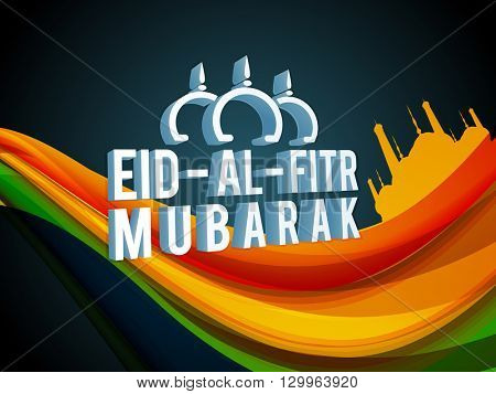 Creative 3D text Eid-Al-Fitr Mubarak on colourful abstract waves with mosque for Islamic Famous Festival celebration concept.