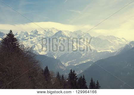 Mont Blanc mountain massif, France. Mountains in haze.