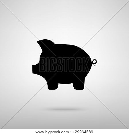 Pig money bank sign. Black with shadow on gray.