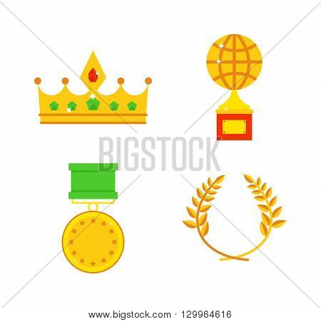 Gold awards vector set. Honors icons award medal and honors icons victory winner prize. Gold honors icons and honors icons medal achievement victory trophy winner. First competition reward sign.