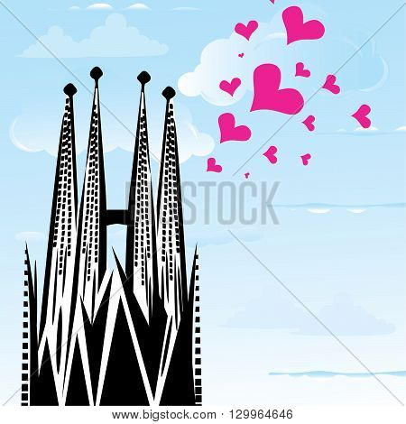 I love town city Barcelona Spain vector heart illustration of symol church