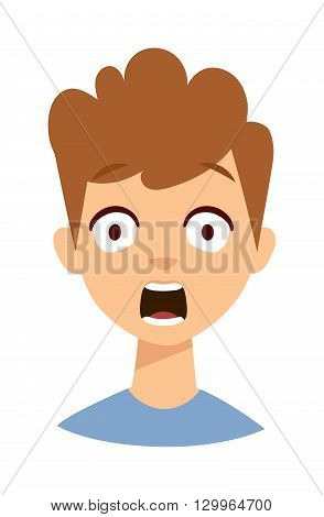 Excited face of small boy. Surprised child vector and surprised child cute portrait expression childhood. Surprised child cute face and happy surprised child. surprised child emotion fun joy head.
