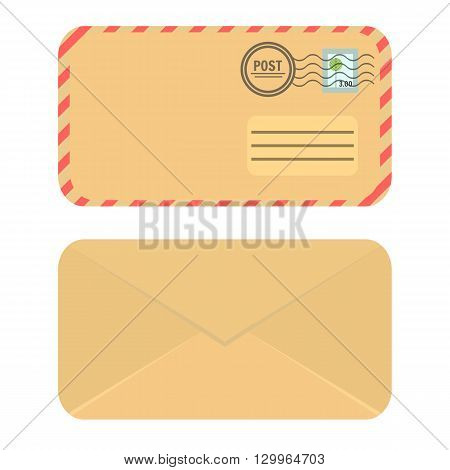 Yellow craft paper closed envelope. Icon Envelope. Front and rear view. Flat elvelope illustration.