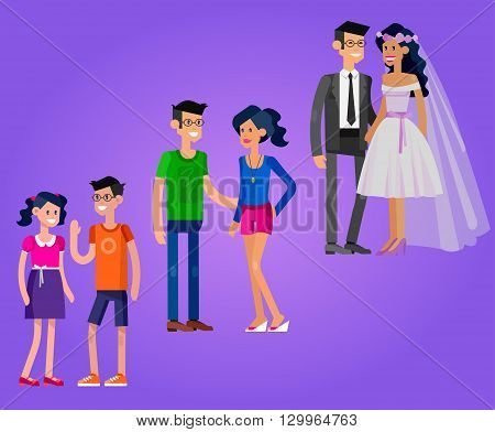 Detailed character people. Stages of life of family, young couple, childhood friendship, first date and wedding. Vector family character. Illustration family people