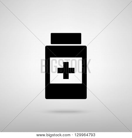 Medical container sign. Black with shadow on gray.