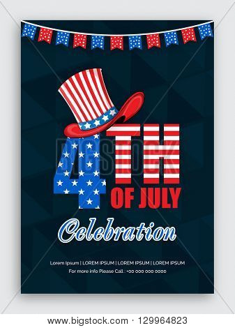 American Flag colors text 4th of July with stylish Hat on abstract background, Elegant Pamphlet, Banner or Flyer design for Independence Day concept.