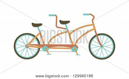 Vintage illustration of tandem bicycle over white background. Tandem bike travel ride transport and tandem bike vintage silhouette healthy vehicle. Teamwork antique fun tandem bike.