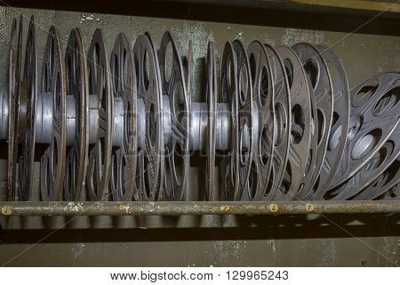Rack Of Vintage Movie Reels