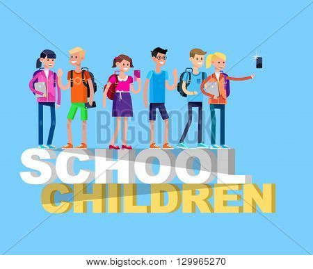Vector detailed character flat design children students boy and girl. Schoolchildren, Kids  smiling holding Gadgets and backpacks. Primary or elementary school children