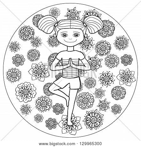 Adult coloring book page young girl in tree yoga pose with whimsical line art on background. Vector illustration.