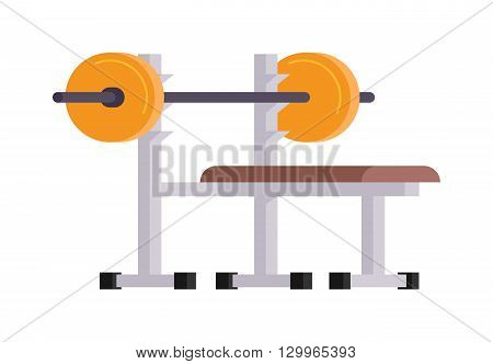 Weightlifting gym sport with bench barbell and cartoon weightlifting lying vector illustration. Body lying training strength weightlifting lying and weightlifting lying barbell workout equipment.