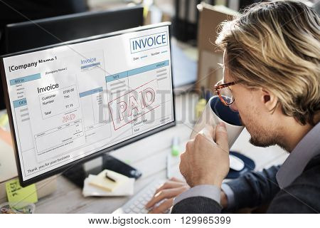 Invoice Bill Paid Payment Financial Account Concept
