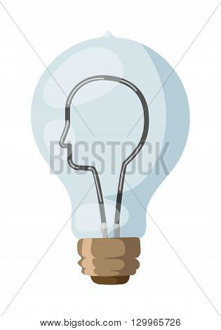 Face lamp man with drawing lamp, idea face lamp concept vector. Face lamp glass light bulb symbol and face lamp light bulb solution imagination human. Electricity power education face profile lamp.