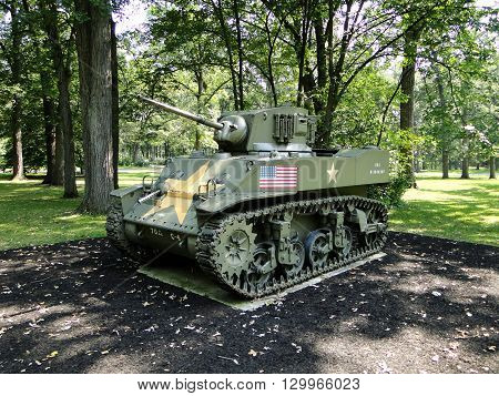 M5 Stuart light tank. American light tank used in World War Two.