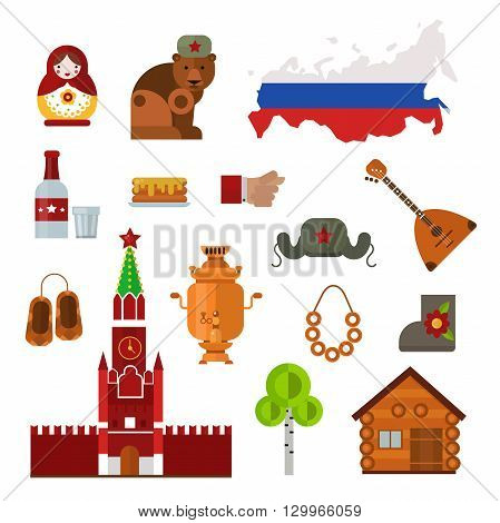 Russia landmarks, symbols and Russia icons. Set of Russia themed design elements balalaika, Russian maiden, samovar and matryoshka doll. Russia culture building famous tourism religion symbols.