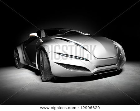 Sports car isolated on black background. My own car design. Not associated with any brand.