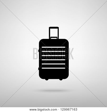 Baggage sign. Black with shadow on gray.