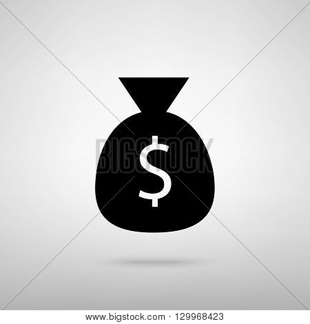 Money bag sign. Black with shadow on gray.
