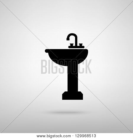 Bathroom sink sign. Black with shadow on gray.