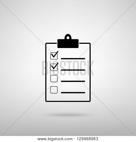 Checklist sign. Black with shadow on gray.