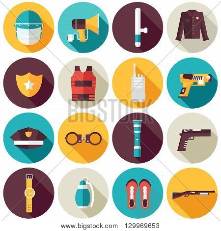police uniform and set protection icons on isoleted background. Flat style bright concept. Vector illustration for colorful template for you design, web and mobile applications